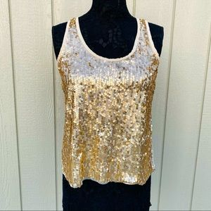 Sequin Sleeveless Blouse with Back Bow